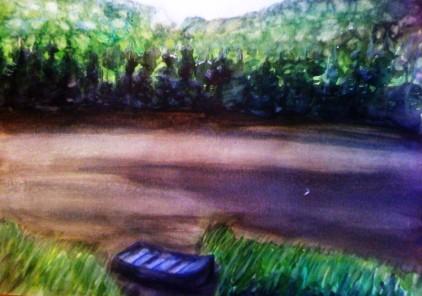 André Clouâtre, Lac avec chaloupe le matin, Aquarelle, 28 x38 cm (11 x 15 po), 2011