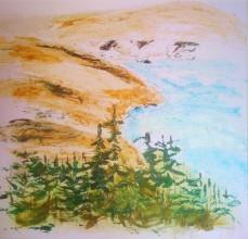 André Clouâtre, Vue du fleuve, Acrylique sur papier, 24 x 26 po, 62 x 65 cm, 2011