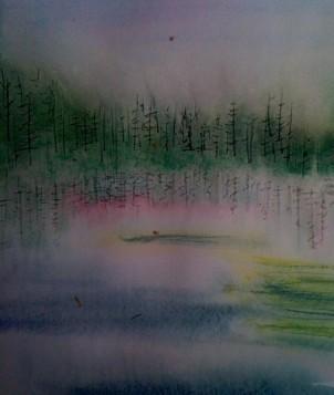 André Clouâtre, Lac Bourré 2, Aquarelle, 28 x38 cm, (11 x15 po), 2011