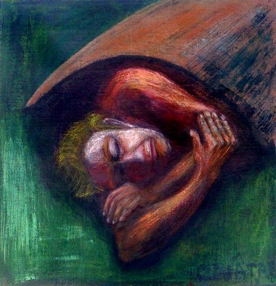 André Clouâtre, Homme qui dort, Acrylique et aquarelle sur toile, 66 x 66cm (26 x 26 po), 2012