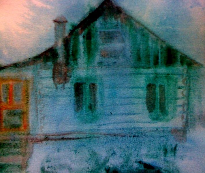André Clouâtre, Maison le soir, Aquarelle, 23 x 25 cm (9 x10 po), 2012