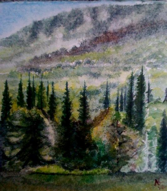 André Clouâtre, Forêt , le matin, Aquarelle, 26 x 23 cm ( 10 x 9 po), 2012