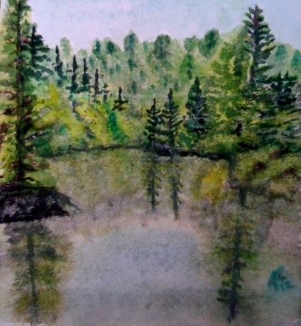 André Clouâtre, Petit lac, Aquarelle, 26 x 24 cm (10 x 9 po), 2012