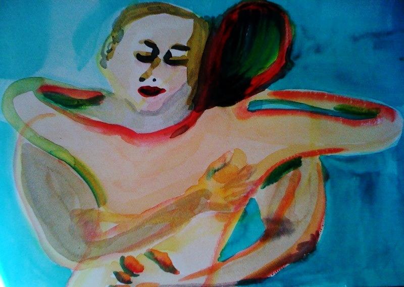 André Clouâtre, Étreinte, Aquarelle, 28 x 38 cm (11 x 15 po), 2013