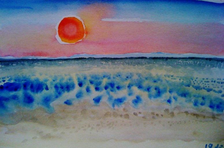 André Clouâtre, Soleil sur la mer, Aquarelle, 19 x 28 cm (7 x 11 po), 2012