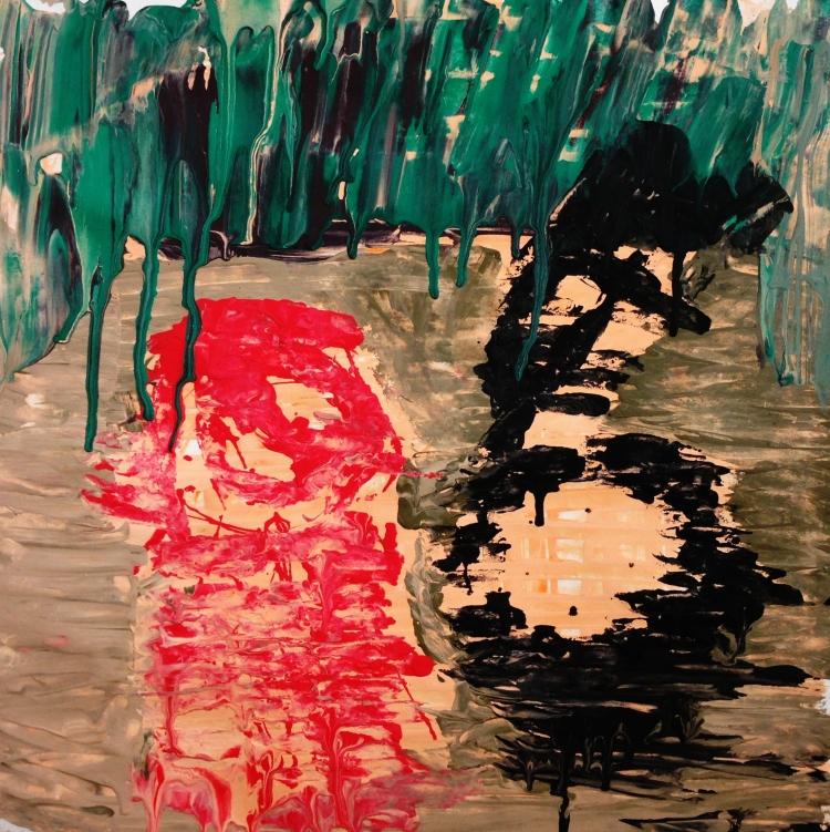 André Clouâtre, Comme une peinture de P. Guston, Gouache , 38 x 38 cm (15 x 15 po,), 2013