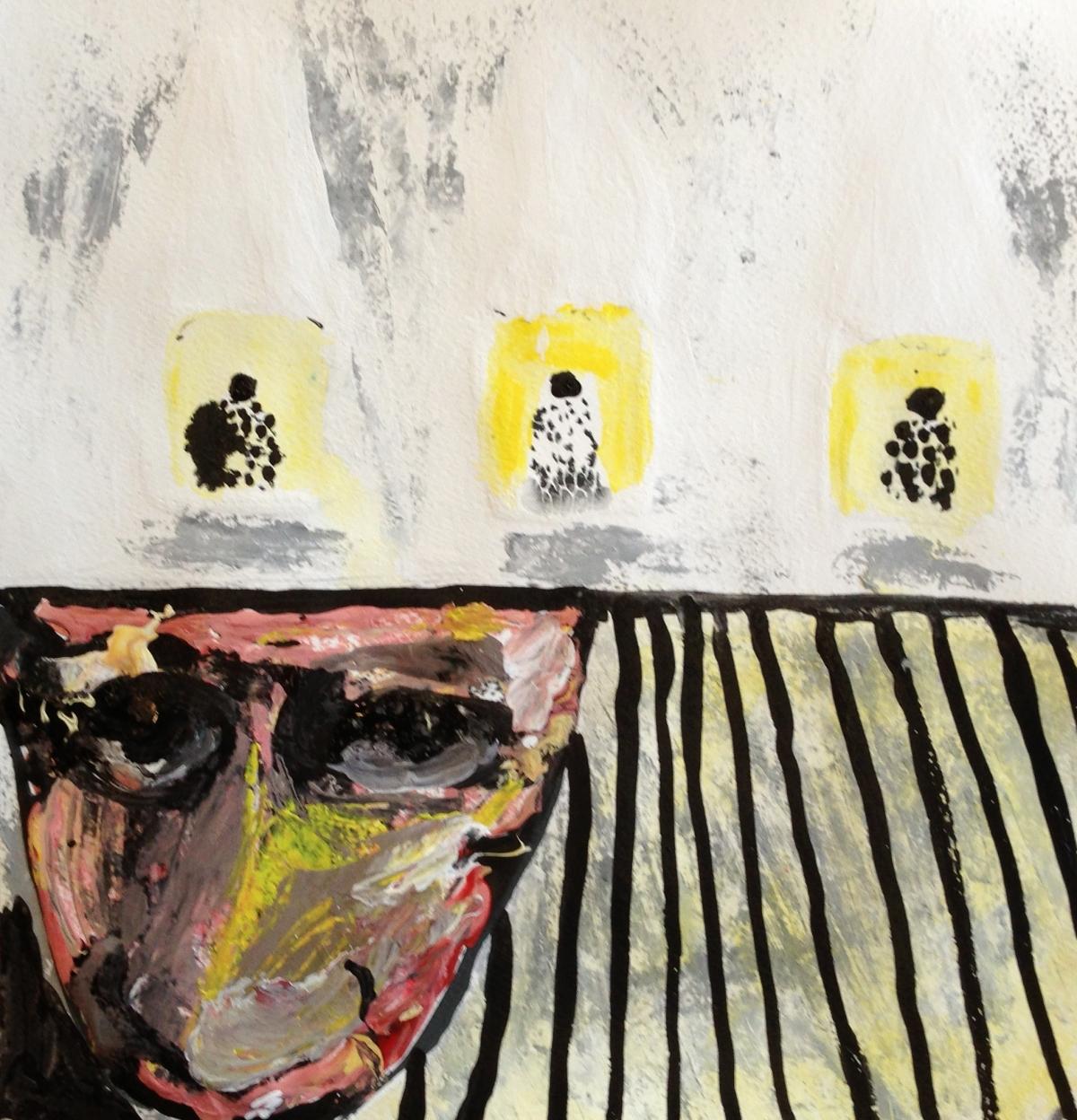 André Clouâtre, Content de moi, Gouache , 38 x 38 cm (15 x 15 po,), 2013