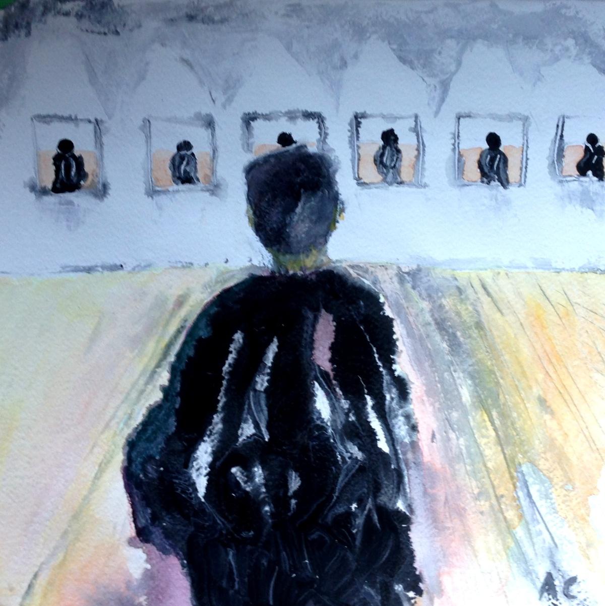 André Clouâtre, Dernière itération, Gouache, 38 x 38 cm (15 x 15 po), 2013