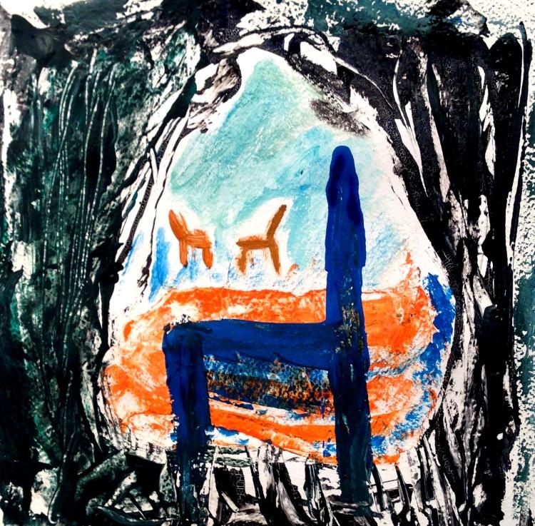André Clouâtre, Méditation sur le lac, Gouache, 38 x 38 cm (15 x 15 po,), 2013