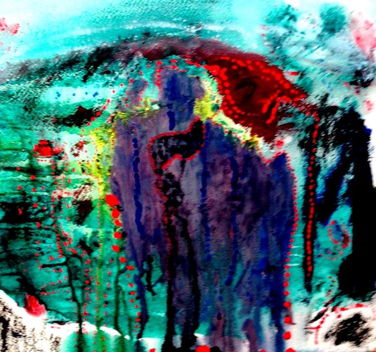André Clouâtre, Parcours en rouge, Gouache 38 x 38 cm (15 x 15 po,), 2013
