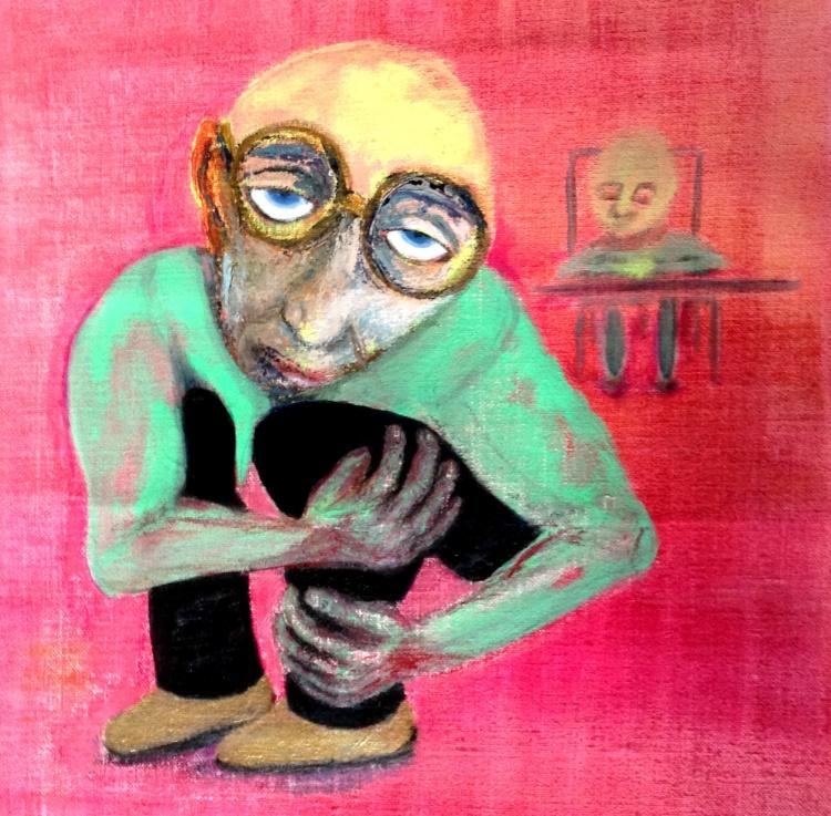 André Clouâtre, Le juge, Acrylique sur toile, 97 x 97 cm, 38 x 38 po, 2013