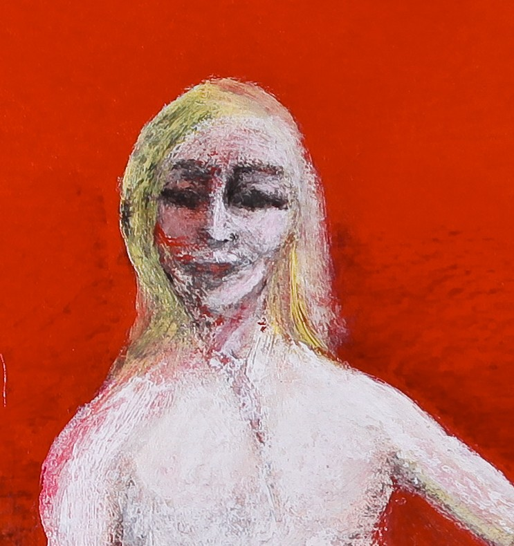 André Clouâtre, Paraplégique servant une salade,  Acrylique sur toile, 58  x 61 cm (23 x 24 po), 2012