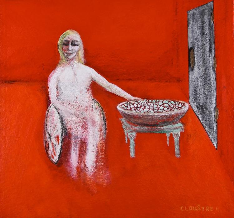 André Clouâtre, Paraplégique servant une salade, Acrylique sur toile,58 x 62 cm (23 x 24 po), 2012.