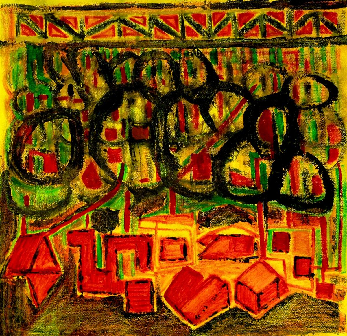 André Clouâtre, Lire l'avenir, Acrylique sur toile, 97 x 97 cm, 38 x 38 po, 2013