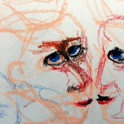 André Clouâtre, Tendresse 11, Pastel à l'huile, 15 x 15 cm (6 x 6 po), 2013