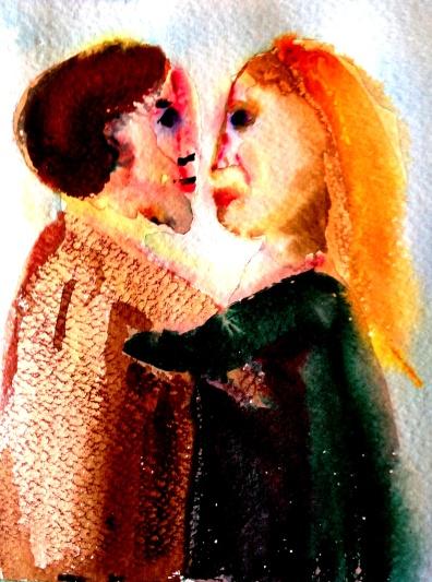 André Clouâtre, Tendresse 12, Aquarelle, 15 x 15 cm (6 x 6 po), 2013