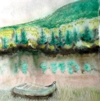 André Clouâtre, Chaloupe, Aquarelle, 41 x 41 cm, 2013