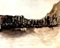 André Clouâtre, Lac 1, Encre et aquarelle, 41 x 41 cm, 2013