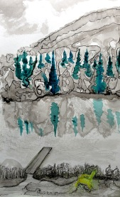André Clouâtre, Quai 2, Aquarelle, 61 x 41 cm, 2013
