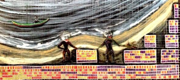 André Clouâtre, Système D, Acrylique sur contre-plaqué, 79 x 33 cm, 31'' x 13 '', 2014.