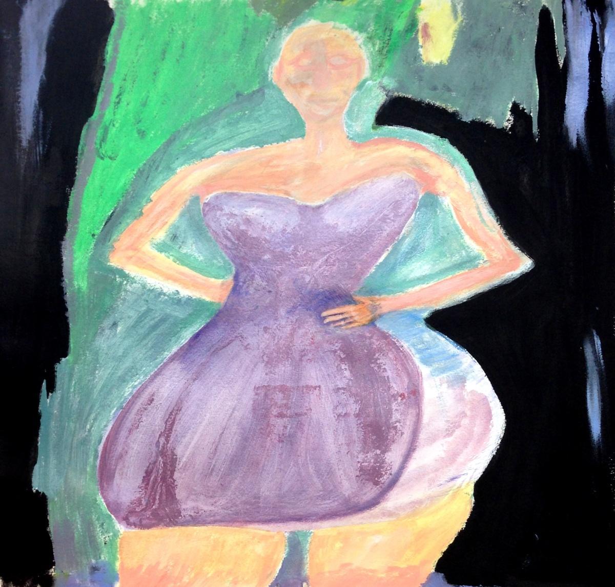 André Clouâtre, La robe mauve, Acrylique sur papier, 61x 61cm, (24' x 24''), 2014