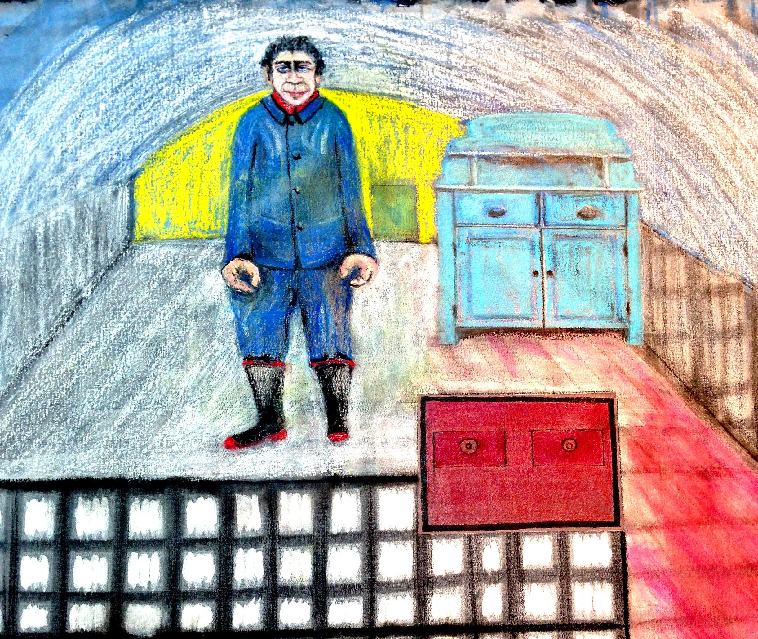 André Clouâtre, La maison d'Élysée, Acrylique et pastel à l'huile sur toile, 81x 81cm, (32'' x 32''), 2014