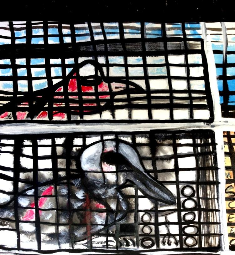 André Clouâtre, Les oiseaux (détail), Encre et acrylique sur papier, 2013.