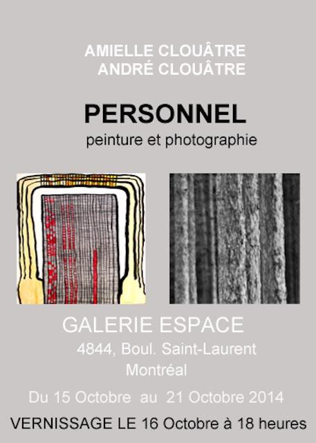 Amielle et André Clouâtre, Expo Galerie Espace, Octobre 2014