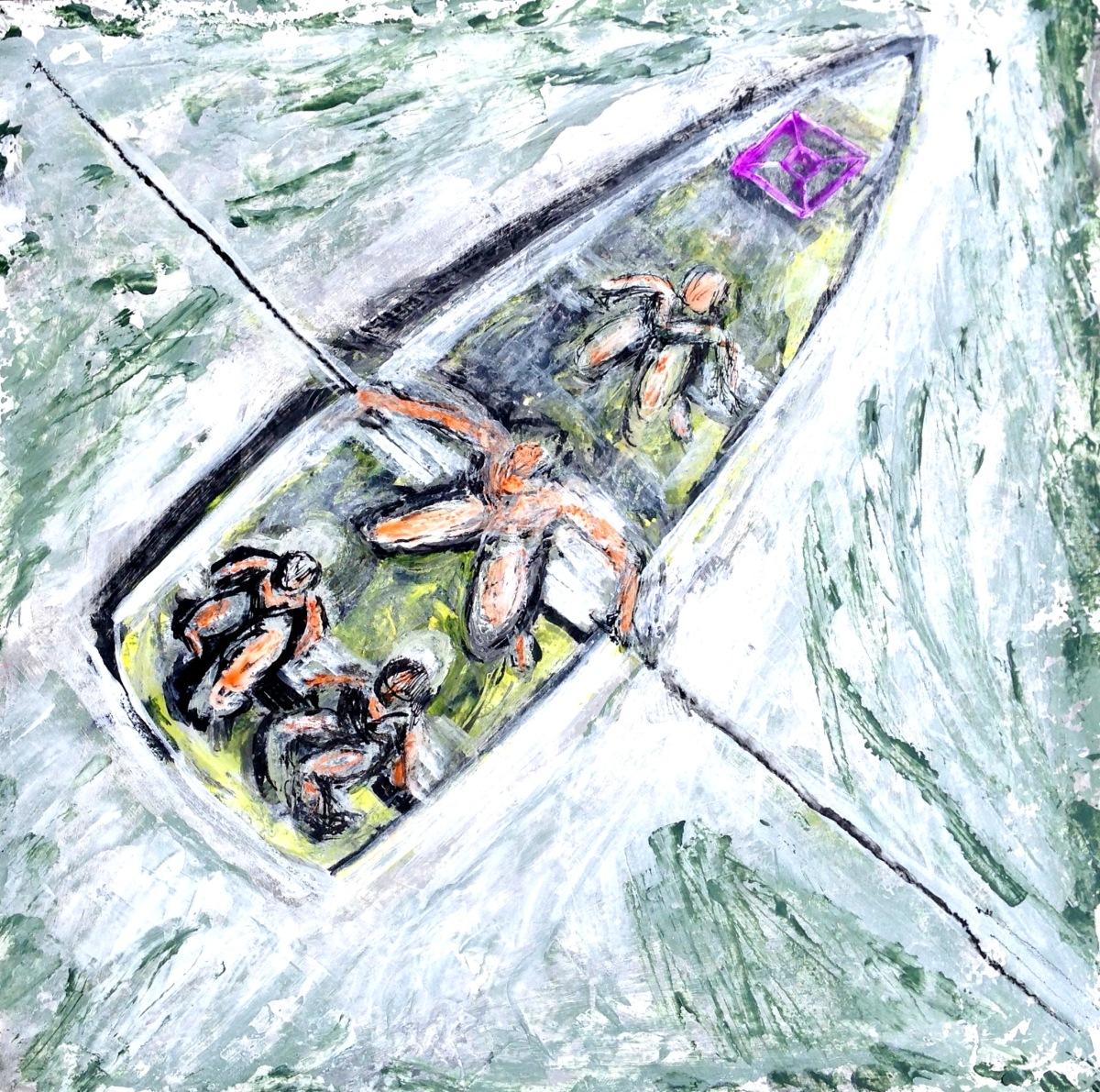 André Clouâtre, Dernier voyage, Encre, gesso et aquarelle sur papier, 36 x 36 cm, 2014