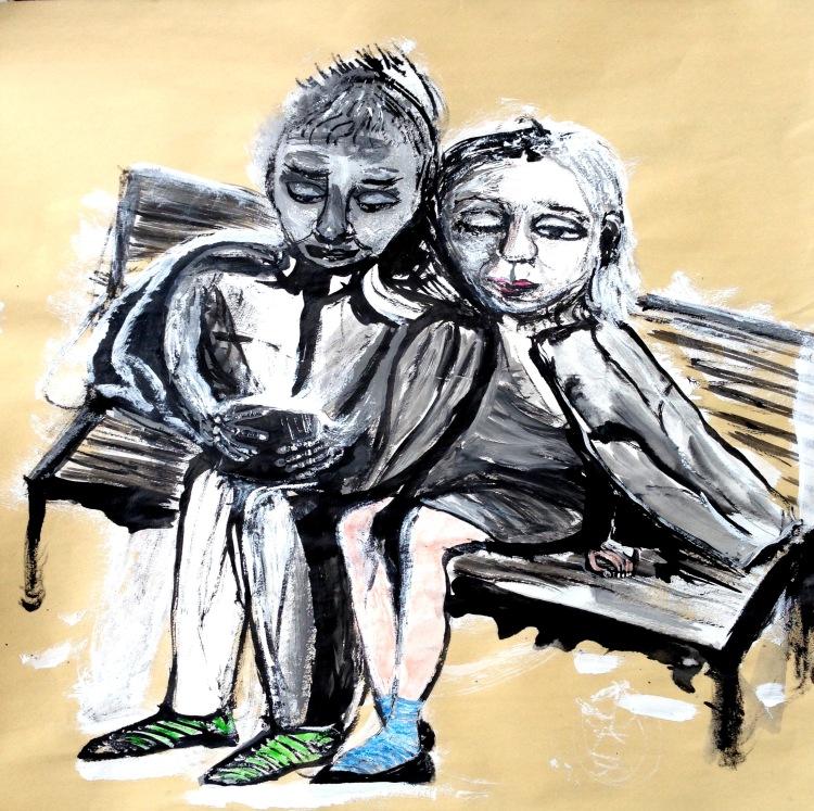 André Clouâtre, À Kyoto je rêve, Encre et gesso, 18'' x 18''