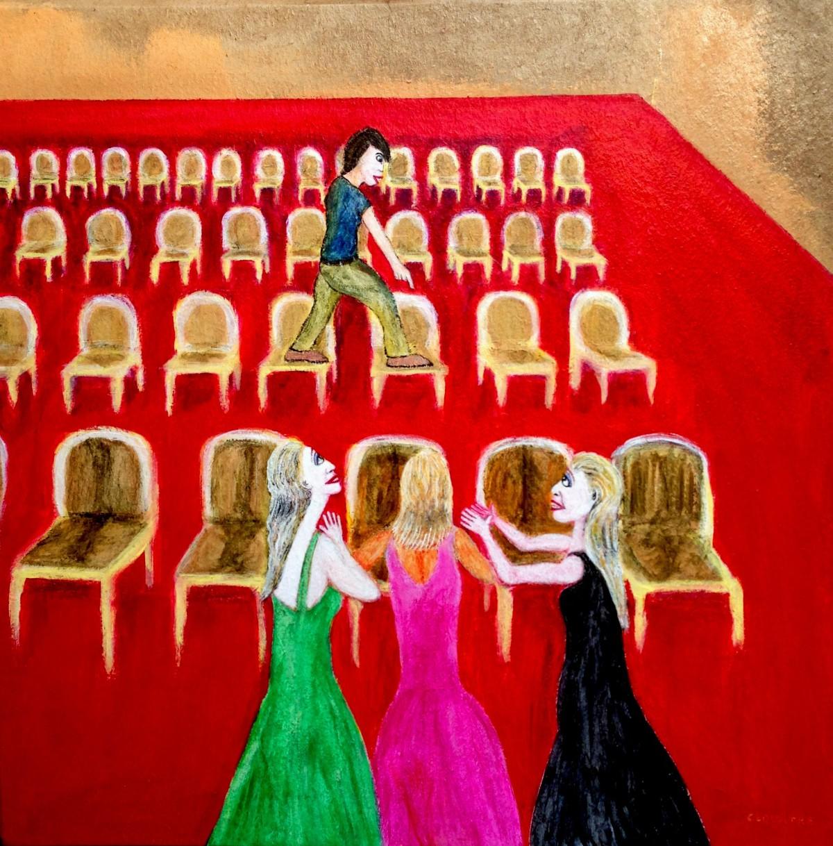 André Clouâtre, Histoire des chaises, Acrylique, 36'' x 36'', 2015