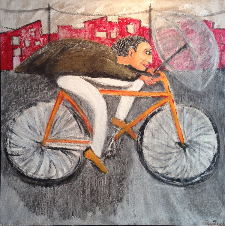 """André Clouâtre, Le cycliste de Kyoto, Acrylique, 36"""" x 36"""", 2015."""