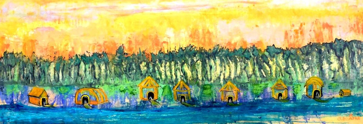 André Clouâtre, cabanes, Acrylique sur toile, 21'' x 60'', 2017