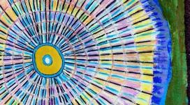 André Clouâtre, Circulaire H17-1-r, Acrylique sur carton, 12'' x 12'', 2017