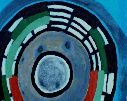 André Clouâtre, Circulaire H17-3-r, Acrylique sur carton, 12'' x 12'', 2017