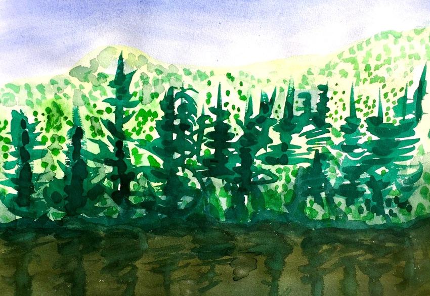 Forêt Réflexion sur lac brun