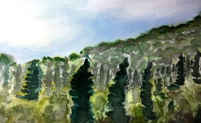 André Clouâtre, Forêt no 1, Aquarelle, 10'' x 12'', 2017