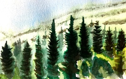 André Clouâtre, Forêt no 2, Aquarelle, 10'' x 12'', 2017