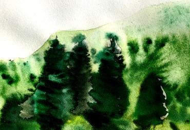André Clouâtre, Forêt no3, Aquarelle, 10'' x 12'', 2017