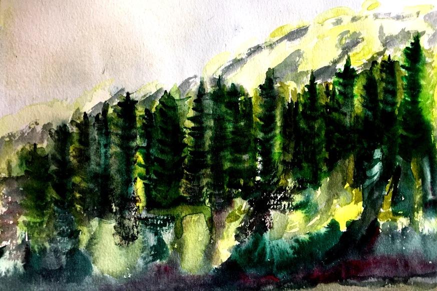 André Clouâtre, Forêt no 4, Aquarelle, 10'' x 12'', 2017