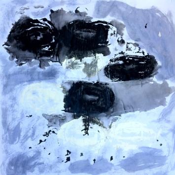André Clouâtre, ADG2bitsBleuté, Gesso sur papier, 30'' x 30'', 2017