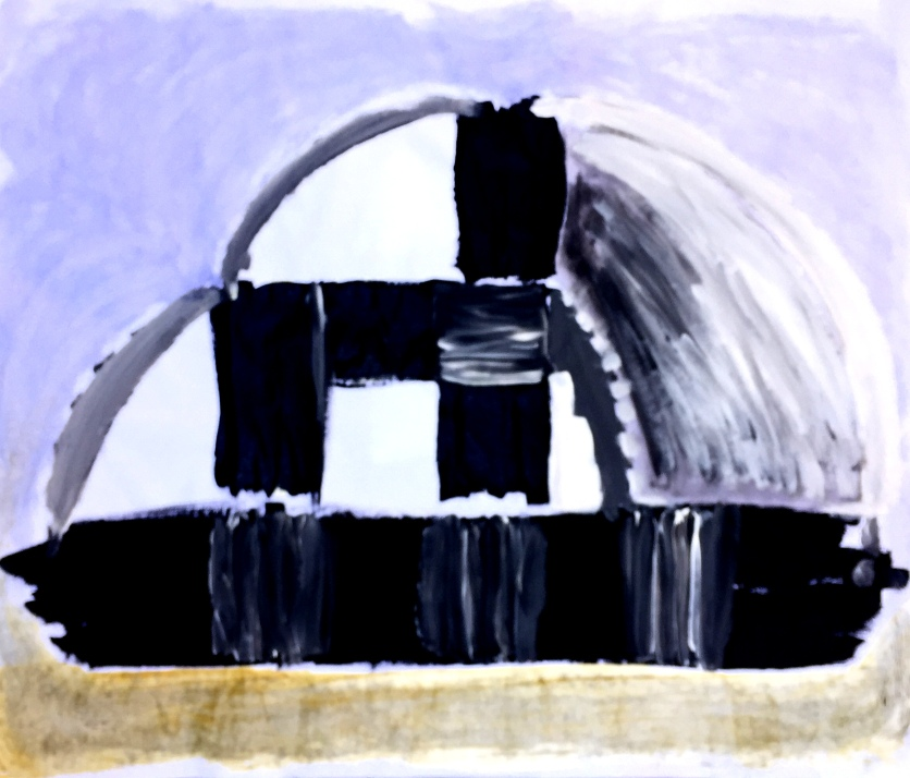 André Clouâtre, ADGCarréBateau, Gesso sur papier, 30'' x 30'', 2017