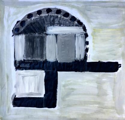 André Clouâtre, ADGCarréDéséquilibre, Gesso sur papier, 30'' x 30'', 2017