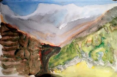 André Clouâtre, L'Annapurna vu de Majgaon-4, Aquarelle, 6'' x 9'', 2017.