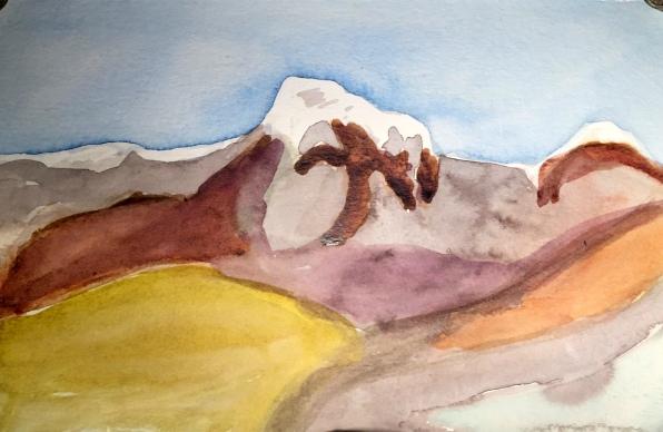 André Clouâtre, L'Annapurna vu de Majgaon-1, Aquarelle, 6'' x 9'', 2017.