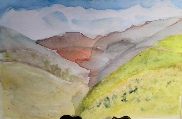 André Clouâtre, L'Annapurna vu de Majgaon-5, Aquarelle, 6'' x 9'', 2017.