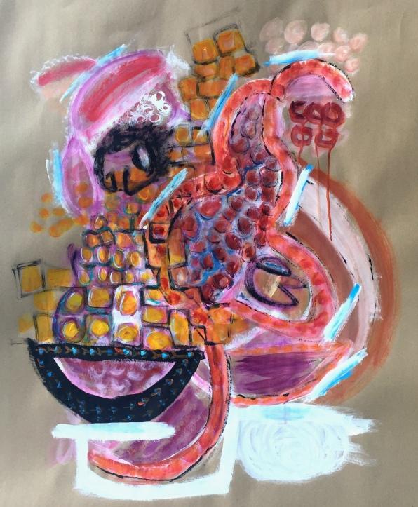 André Clouâtre, Construction de vie, Acrylique sur papier, 48'' x 36'', 2018